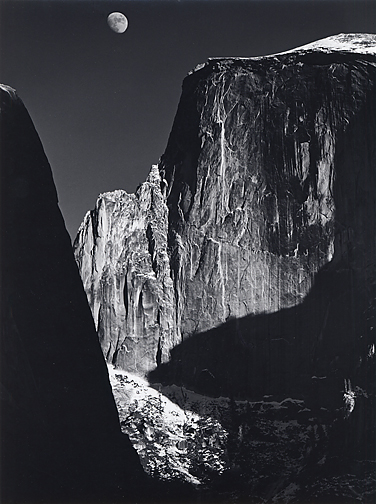 Moon and Half Dome, Yosemite National Park, California, 1960, printed later