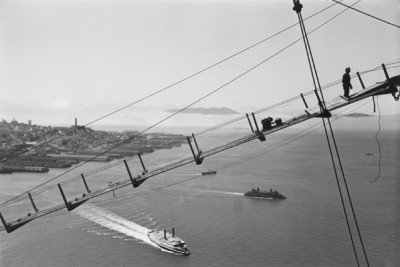 Peter Stackpole, San Francisco Waterfront Viewed Through a Cable-saddle On Tower, circa 1936