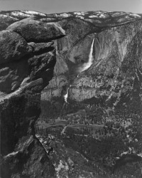 Ansel Adams, Majestic Step in High Sierra Snow Waters, Upper and Lower Descending Falls from Glacier point, Yosemite valley, 1938