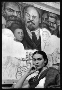 Frida in Front of the Unfinished Unity Panel, New Worker's School, New York, 1933