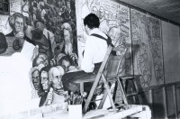 Diego Painting his Fresco at New Workers School, New York City, 1933
