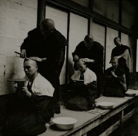 Horace Bristol, Shaving Heads of Monks in Monastery, Japan, 1947