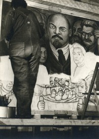 Diego Rivera Painting the Unity Panel, 1933