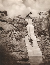Kolb Brothers, Emery Kolb, Belayed By Brother Ellsworth, Prepares to Photograph Cheyawa Falls, Grand Canyon, 1913