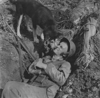 W. Eugene Smith - Dog With Marine in Foxhole, Saipan, circa 1944
