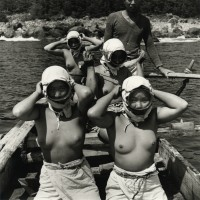 Diving Girls of Hatsushiima Donning Masks before Diving, Japan, 1947