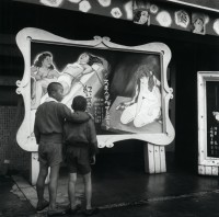Boys Looking at Poster Outside Burlesque Theater, Japan, 1948