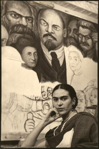 Frida in Front of the Unfinished Unity Panel, New Worker's School, NY 1933
