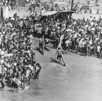 Crowd at Huntington Beach Surf Contest, 1964