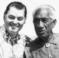 Duke Hahanamoku and Johnny Weismuller Olympic Medal Winners, Huntington Beach, circa 1963