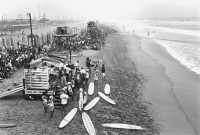 Huntington Beach Staging Area Surf Contestants, circa 1963