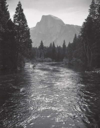 Ansel Adams, Half Dome, Sunlight on Merced River, Yosemite, c. 1935