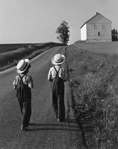 "George Tice, Two Amish Boys, Lancaster, Pennsylvania, 1962, Gelatin Silver Print, 10"" x 8"""