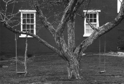 "George Tice, Tree, Swings and Windows, Lancaster, Pennsylvania, 1966, Gelatin Silver Print, 11"" x 14"""