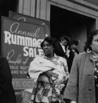 """Imogen Cunningham, Rummage Sale, 1949, vintage print (MoMA collection), 9"""" x 9"""", signed"""