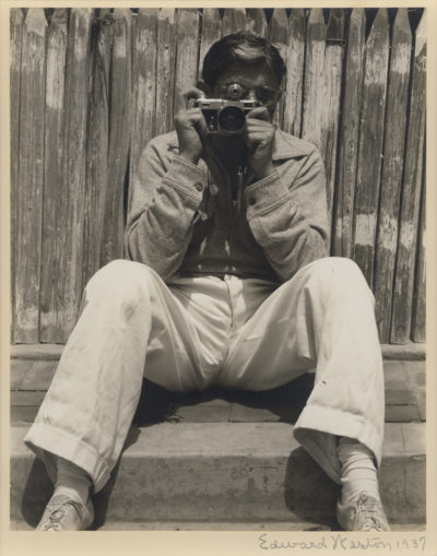 Edward Weston, Ted Cook With Contax, 1937.  Vintage, possibly unique gelatin silver print.