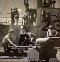 Welding Pipes on Deck of Submarine, 1944