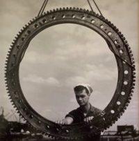 Sailor Working on Huge Gear (Pearl Harbor), 1943